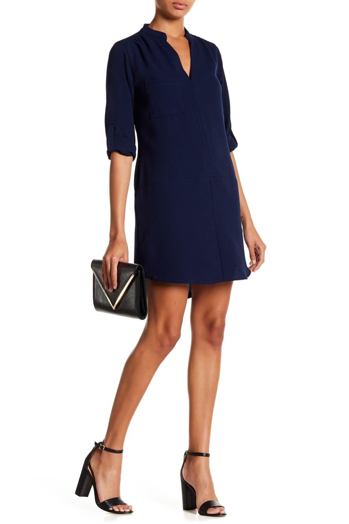 Lush Novak 3 4 Sleeve Shift Dress Nordstrom Rack In 2021 Shift Dress Casual Work Dresses Classic Shirt Dress [ 1800 x 1200 Pixel ]