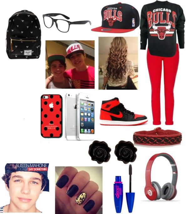 """""""Chicago Bulls game with Austin Mahone c:"""" by kaleigh-03 on Polyvore"""