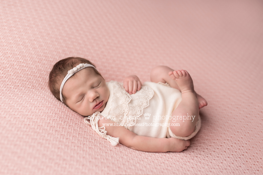 Newborn photography with pink and white baby girl photography eugene oregon newborn photographer