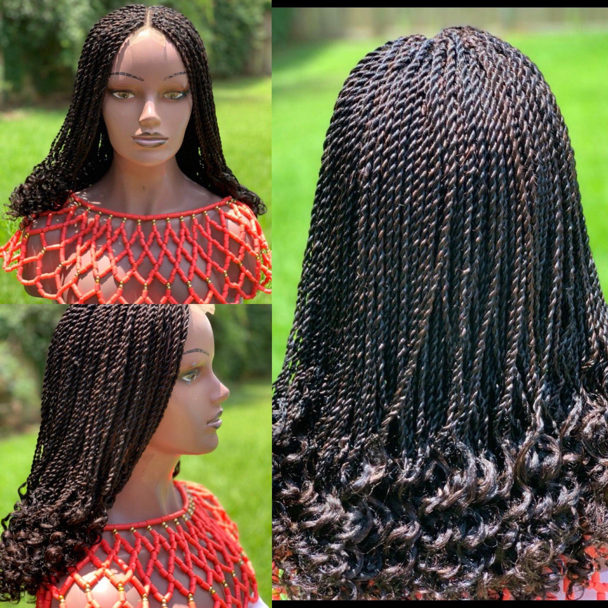 Braided wig with curly tips the length is 18inches long