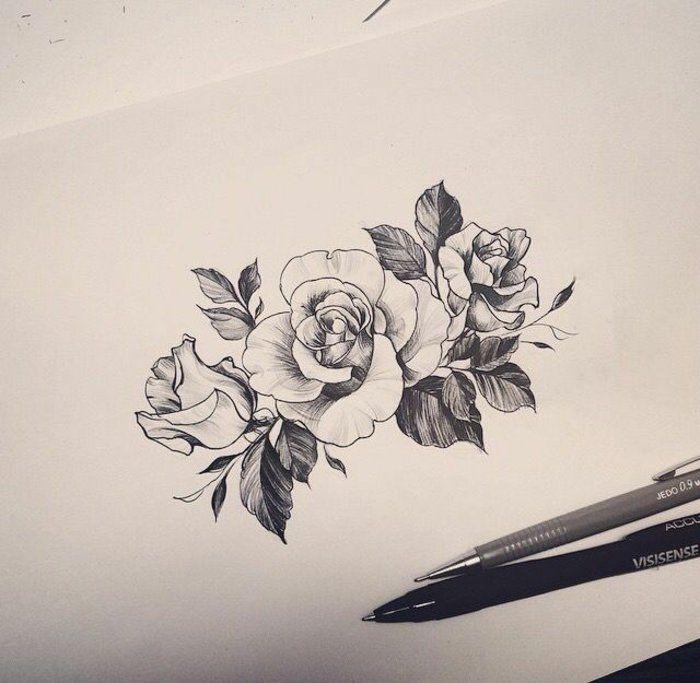 1001 id es de tatouage de fleur et quelle est sa signification rose tatouage dessin tatouage - Tatouage rose avec tige ...