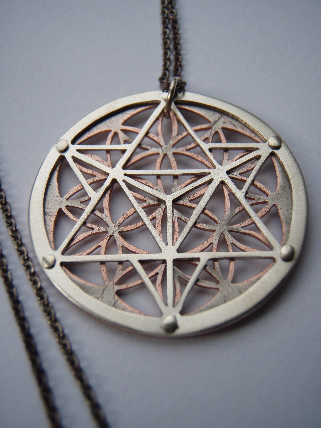 Star tetrahedron and flower of life pendant sterling silver and star tetrahedron and flower of life pendant sterling silver and copper handcrafted sacred geometry mozeypictures Gallery