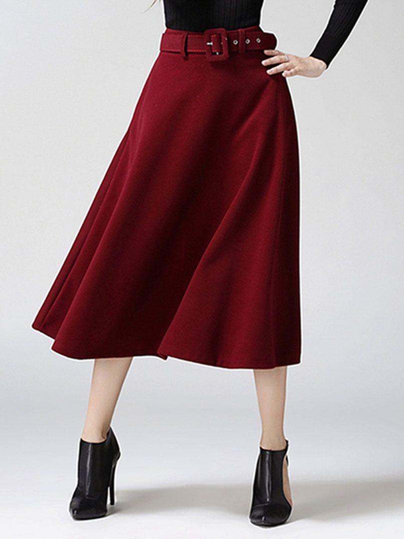 Wine Red Belt High Waist Woolen Skater Midi Skirt Choies Com Long Skirt Winter Midi Skirt Fall Fashion