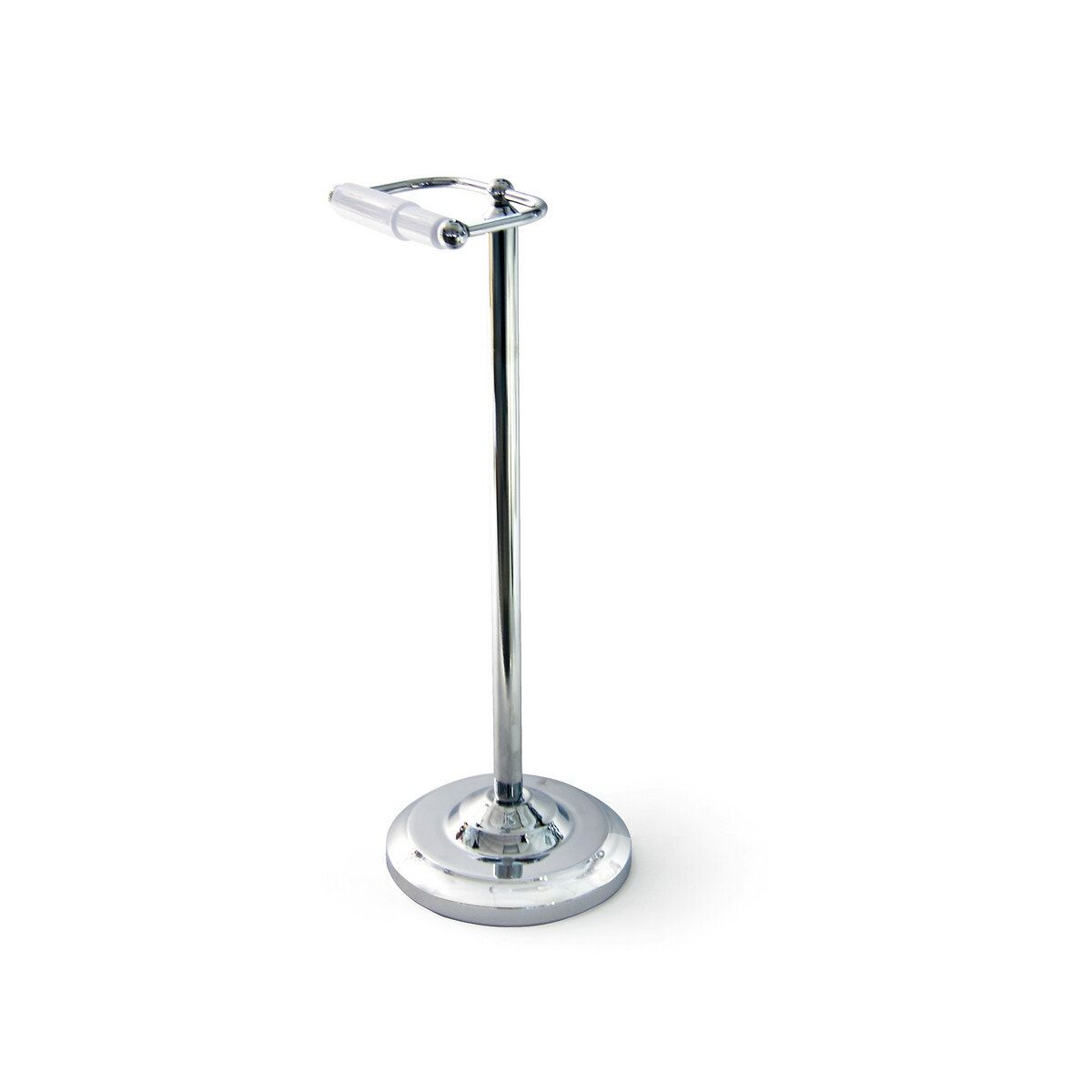 This product will be dispatched by one of our trusted suppliers. You'll be contacted by their selected courier about your delivery.keep your bathroom organised with an extensive range of bathroom accessories by sabichi. This chrome plated toilet roll stand is sure to add a touch of style to your bathroom. Better bathroom storage ideas from our sabichi homemakers.product details:toilet roll holderround basefree standingchrome platedheight: 53cmbase diameter: 19cm