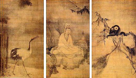 Muqi, Guanyin en robe blanche, grue et gibbon, rouleaux verticaux, chacun: 173 x 98 cm, encre sur soie, Daitokuji, Kyoto