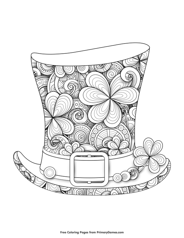 Leprechaun Top Hat Coloring Page • FREE Printable eBook