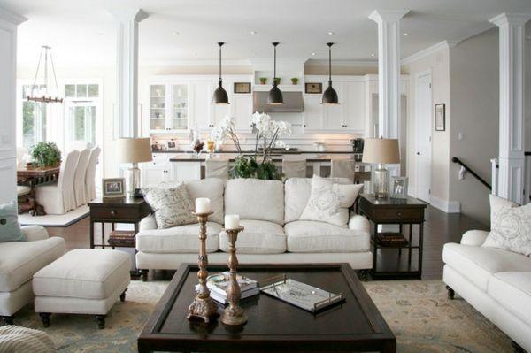 wohnzimmer modern mit weißen möbelstücken ausstatten - Wie ein - wohnzimmer sofa stellen