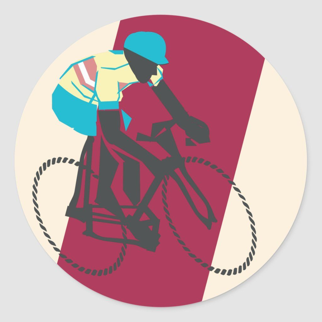 Retrostyle cyclist graphic sticker / envelope seal.