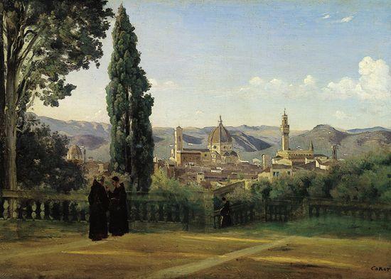 Camille Corot, Florence vue depuis les jardins de Boboli   Peinture paysage, Peintre paysagiste ...