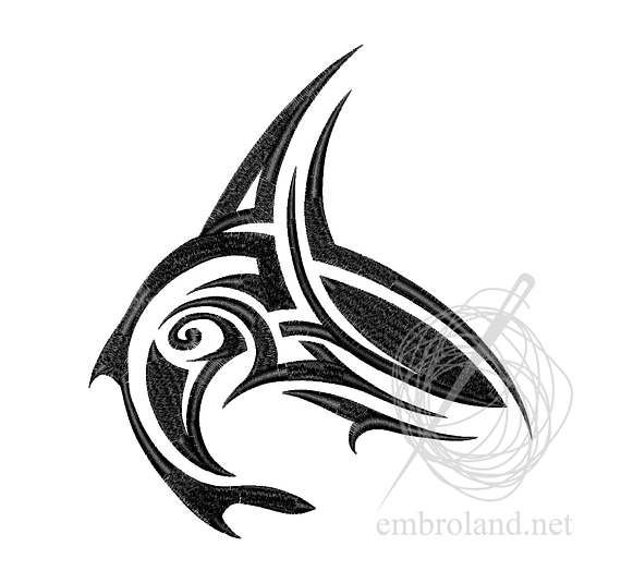Shark Tattoo Machine Embroidery Design Instant Download