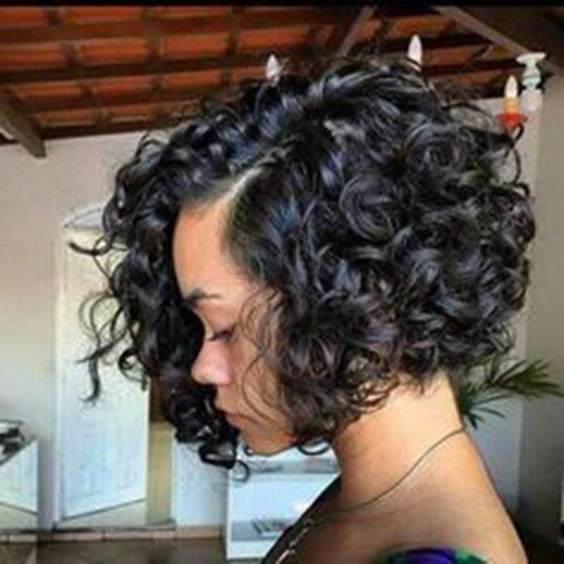 Simulation Human Hair Short Bob Curly Wig In Stock Color Black Hair Styles Short Hair Styles Curly Hair Styles