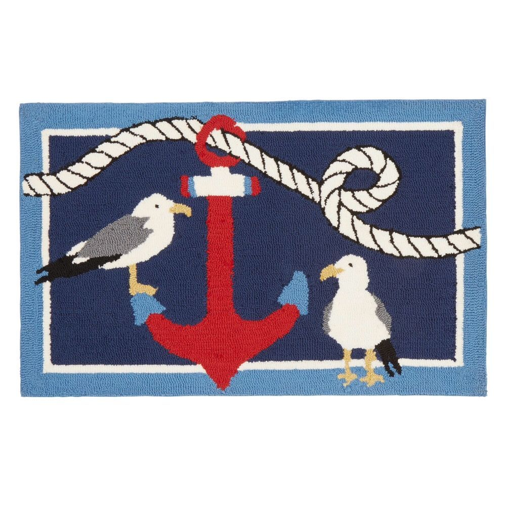 Nautical Hand Hooked Rug Anchor And Seagulls Mat Beach Accent