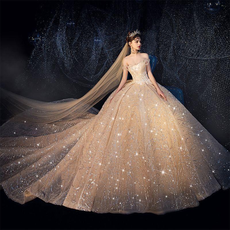 Luksusowe Szampan Suknie Ślubne 2019 Suknia Balowa Bez Ramiączek Cekinami Tiulowe Cekiny Frezowanie Bez Rękawów Bez Pleców Trenem Katedra