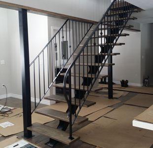 Custom Built Wrought Iron Steel Staircases, Modern Metal Mono Stringer,  Circular, Spiral