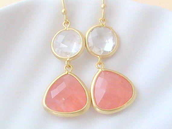 Pink Earrings Clear Crystal Earrings Hot Pink by Crystalshadow, $26.00