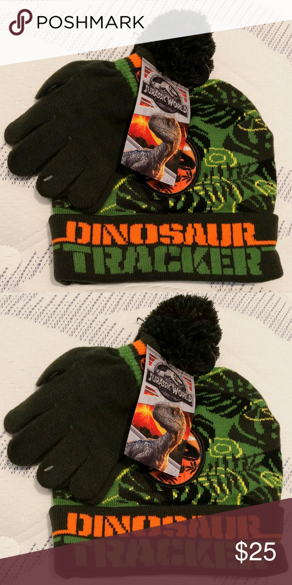 15b189e5926e96 Jurassic Park Winter Hat & Gloves Winter Hat & Gloves One Size Fits  All