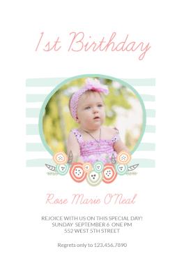 Online Birthday Invitations Templates Birthday Rejoicing  First Birthday Invitation Templatecustomize .