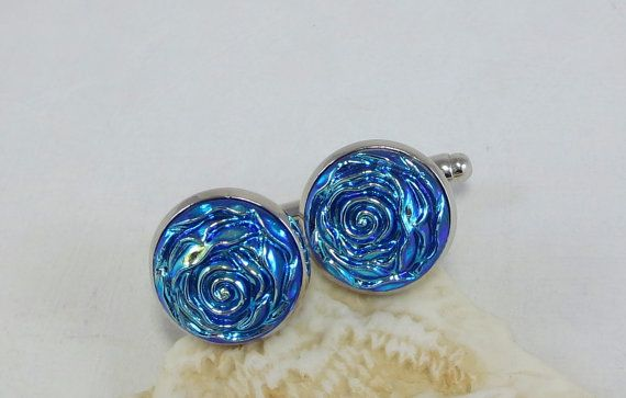Blue Rose Cuff Links Silver Rhodium by dfoxjewelrydesigns on Etsy