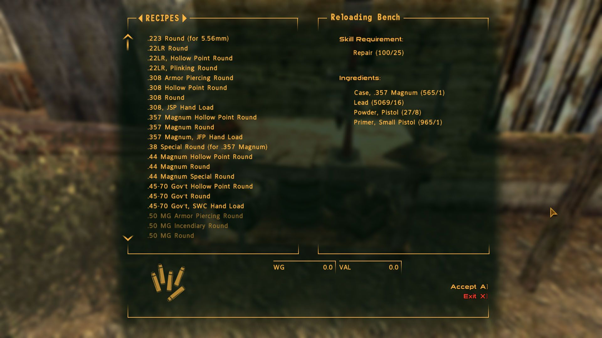 Missing Ammo Recipes At Fallout New Vegas Mods And Community Fallout New Vegas Recipes Reloading Bench
