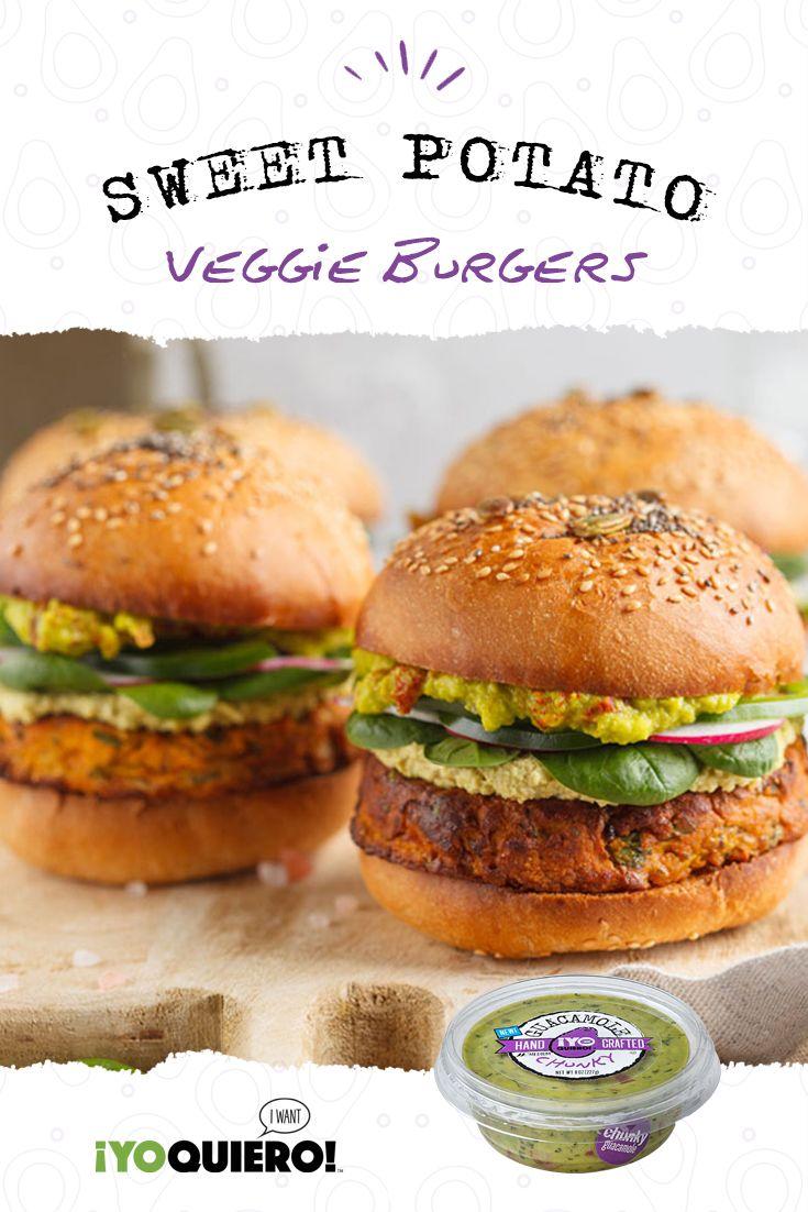 Easy Sweet Potato Veggie Burgers with Guacamole