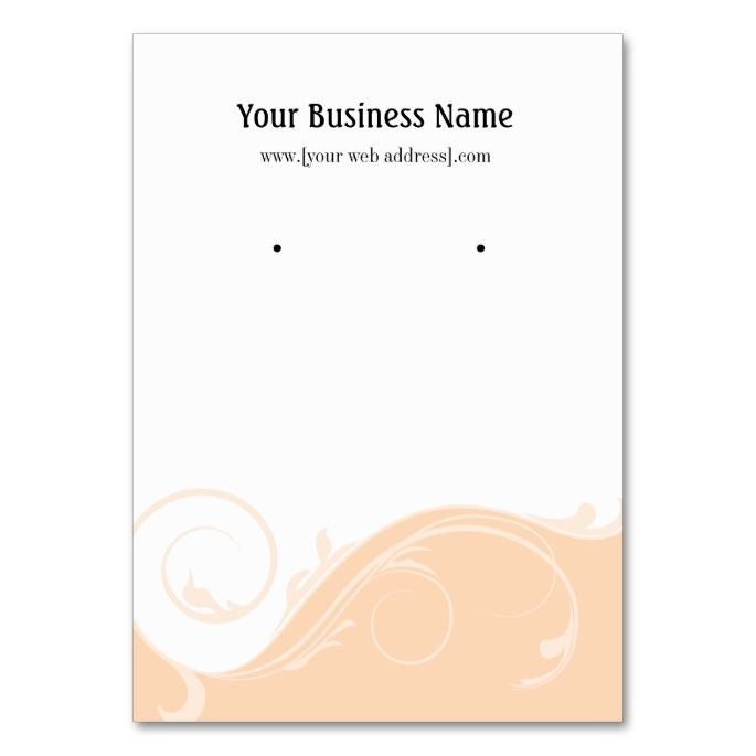 Peach Swirl Custom Earring Display Card Large Business Cards Pack Of 100 This