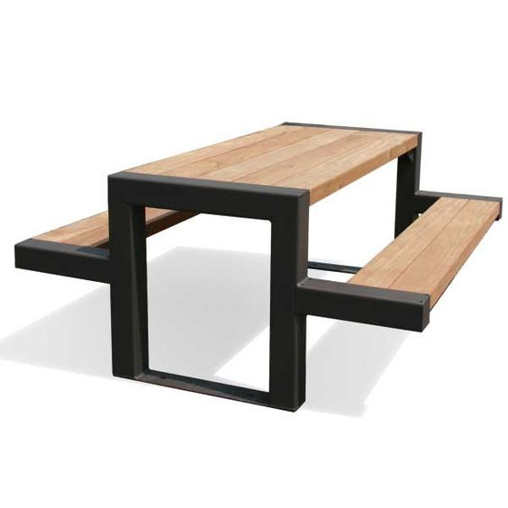 Table Bois Metal Design: Black Painted Metal And Wood