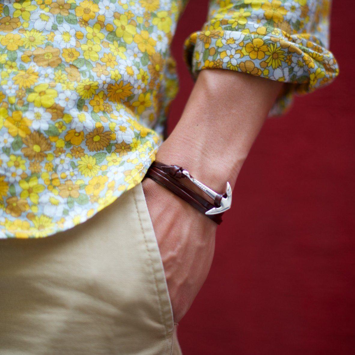 Silver Anchor Bracelet On Leather Miansai