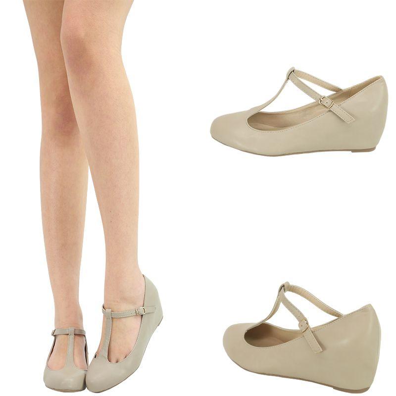 Nude t-strap mary jane hidden med low wedge heel ballet flat ...