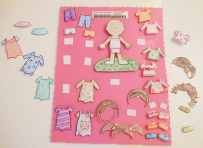 Laminated paper doll with clothes that would stick on with Velcro – Clothing Sponsorship
