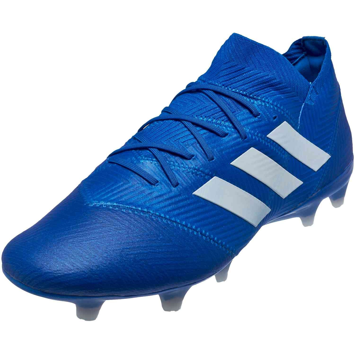 White And Blue Adidas Soccer Cleats