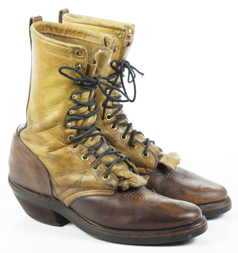 f7a3384b6ef Vintage Chippewa Packer Mens Leather Lacer Moto Work Boots USA Made ...