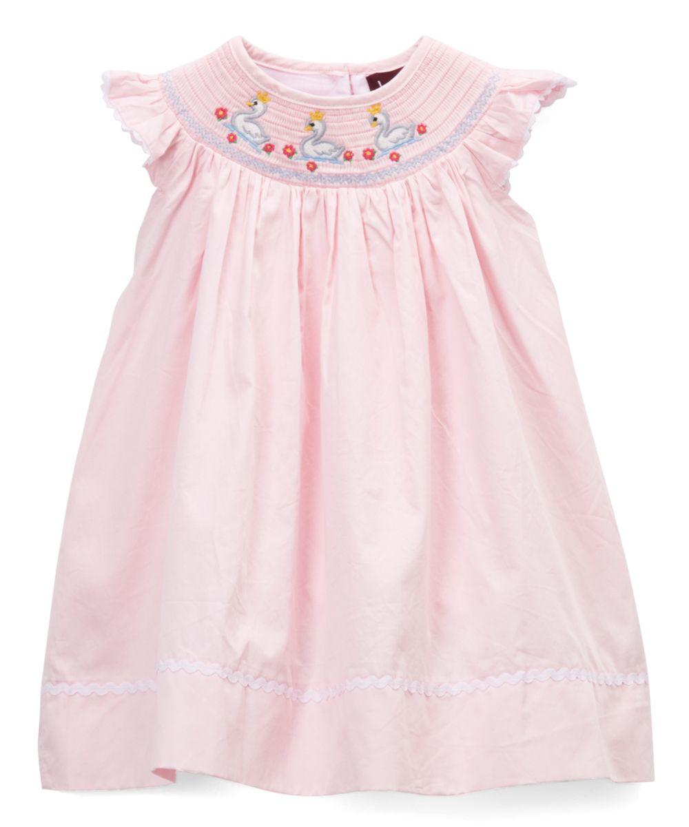 1c946ad75 Light Pink Swan Smocked Bishop Dress - Infant