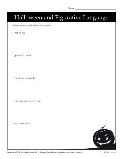 Eyes front idiom practice worksheets english idioms and sentences halloween idioms fandeluxe Choice Image