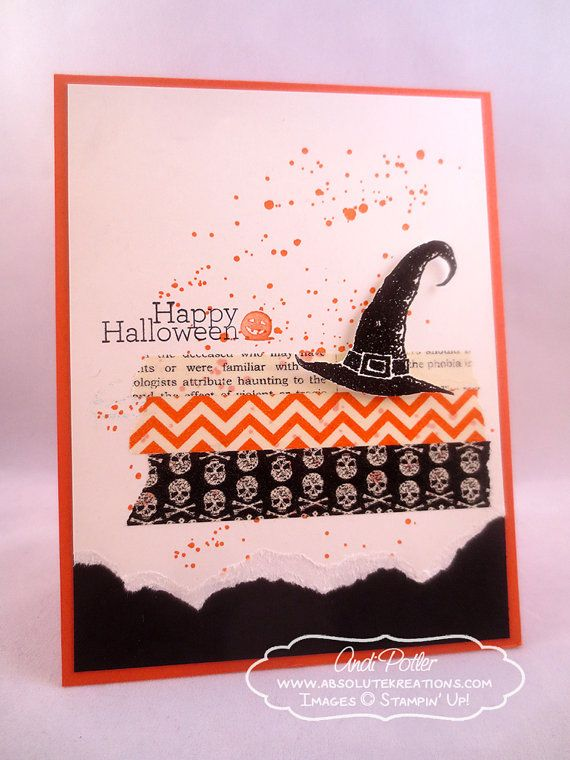 Elegant Stampin Up Happy Halloween Witches Hat Card On Etsy, $3.24 CAD