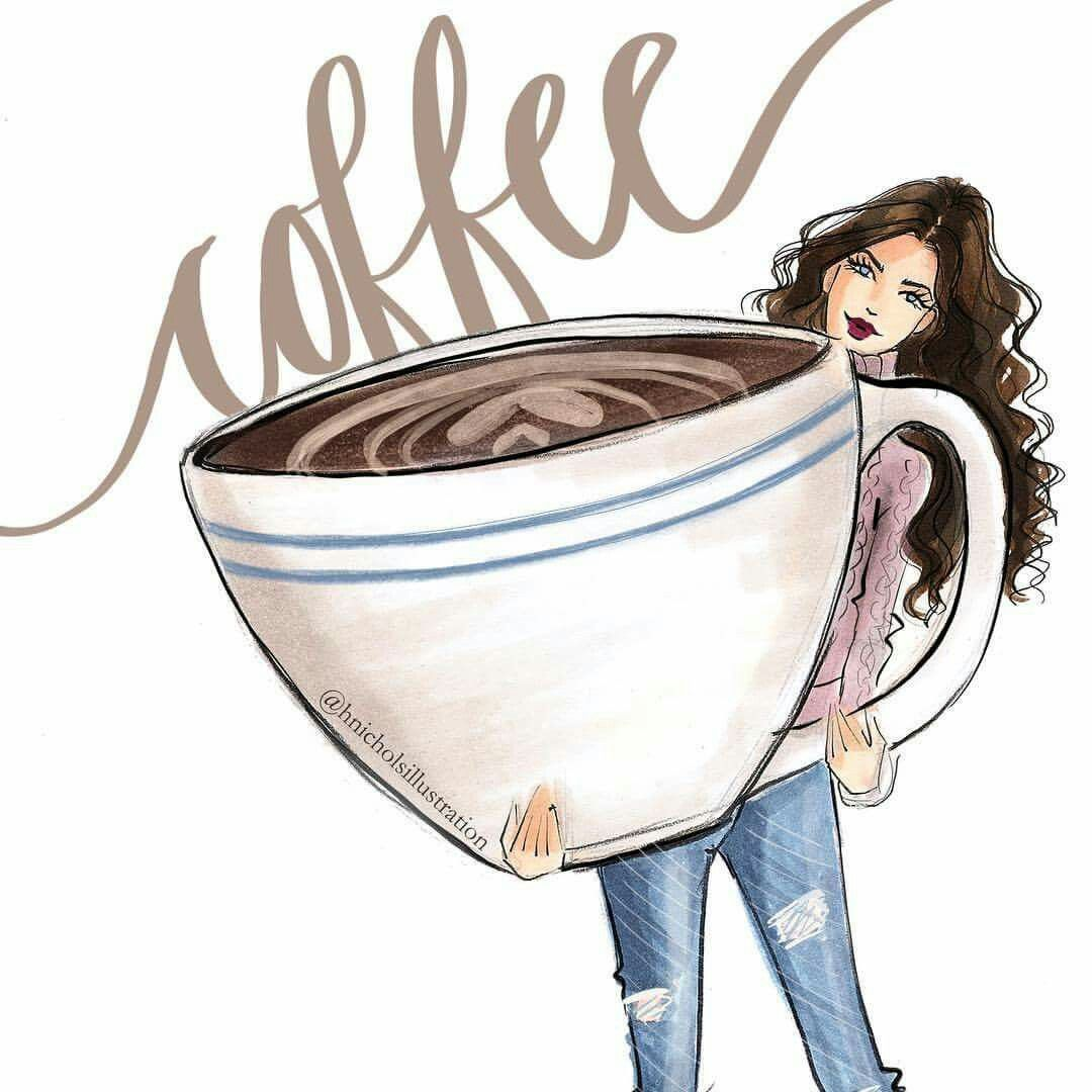 Coffee Girl And Big Cup Illustration Kaffee Bilder Niedliche