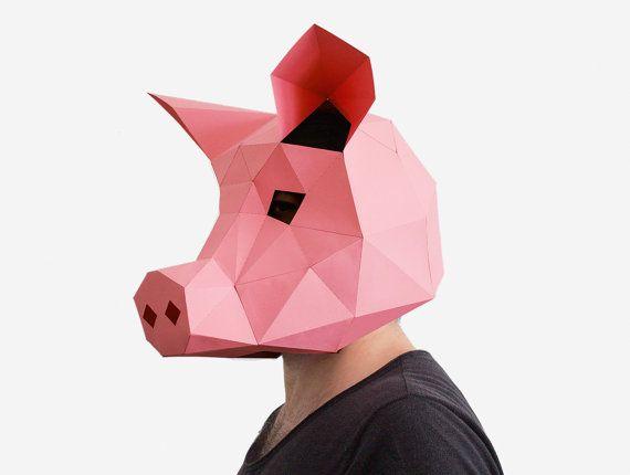 pig mask diy printable animal head instant pdf download diy new