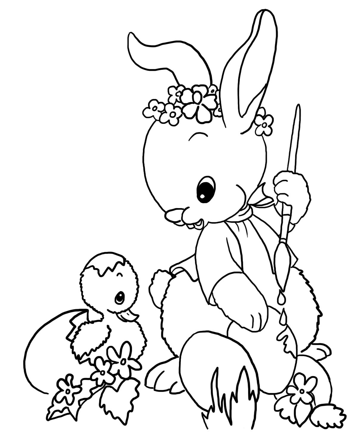 Easter bunny painting Easter eggs to color | Spring / Easter crafts ...