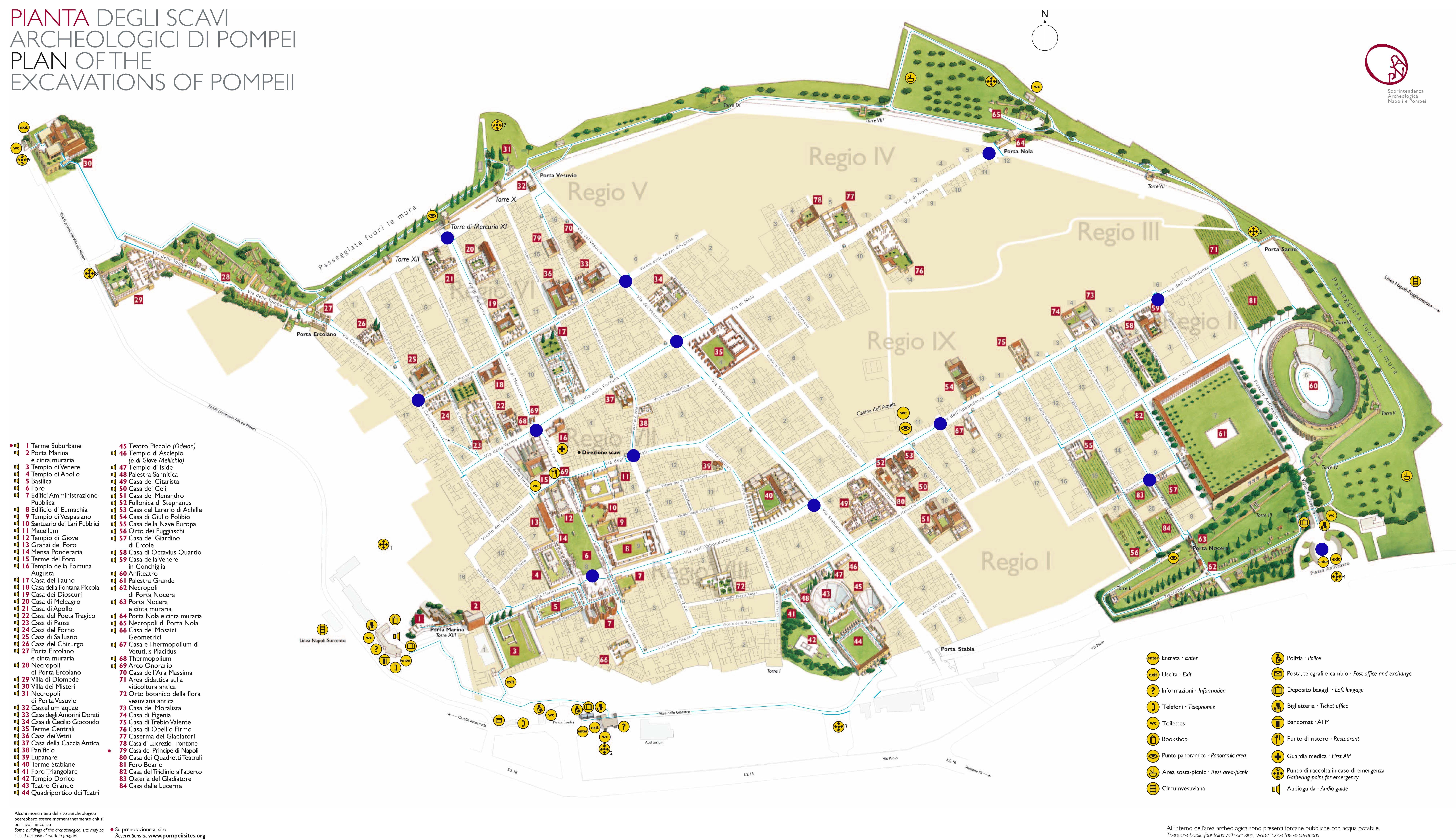 Pompeje Mapka Pompeii Pompeii Ruins Herculaneum