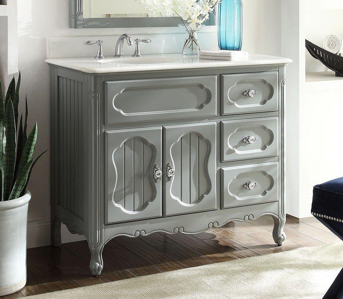 42 Inch Adelina Antique Cottage Bathroom Vanity Grey Finish White