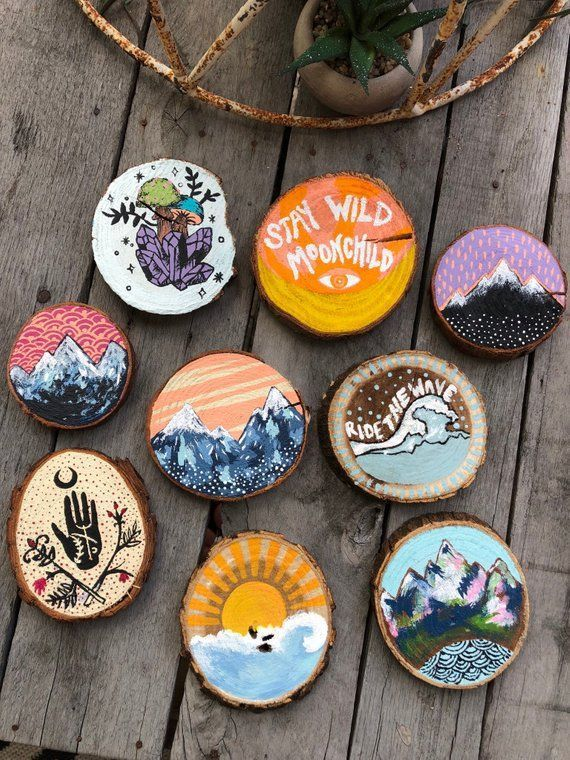 Painted Wood Stumps | Small Paintings | Boho Paint... - #boho #Paint #Painted #P...