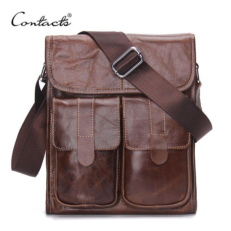 CONTACT'S Genuine Leather Men bags Fashion Brand Designer Handbags Shoulder Vintage Retro Cow Bags Men Messenger Bags Briefcase