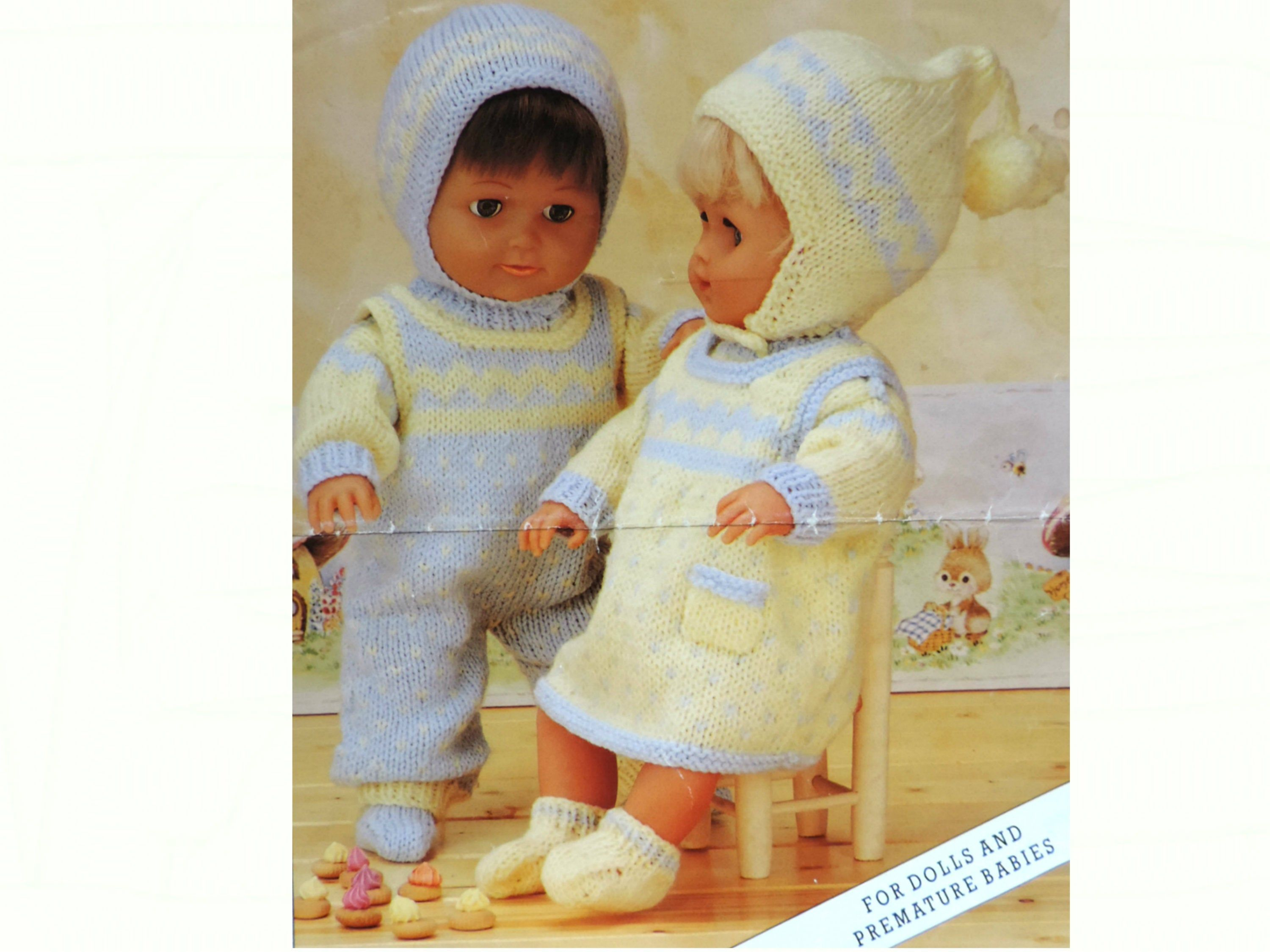 Baby Girl Boy Dolls Clothes Knitting Pattern Pdf Pinafore Dress Sweater Dungarees Hats Socks For 12 16 20 Inch Doll Pre Boy Doll Clothes Boy Doll Doll Clothes