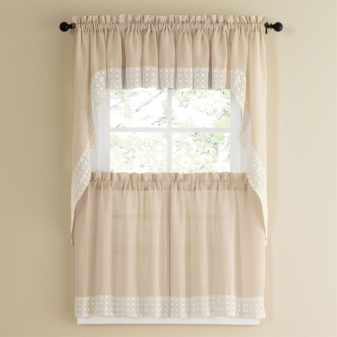 24 Inch Kitchen Curtains French Vanilla Country Style Curtain Parts With White Daisy Lace