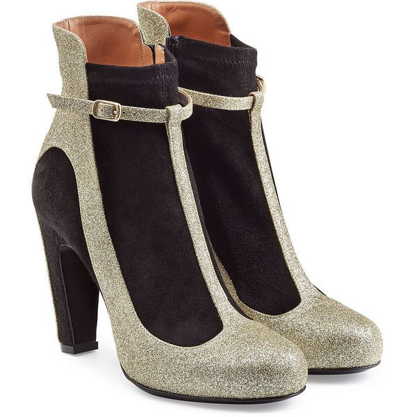 c72e8bcbadba Sparkling gold glitter and jet black suede make these tall ankle boots a  party-ready choice from Maison Margiela. Let them lend statement impact to  low-key ...