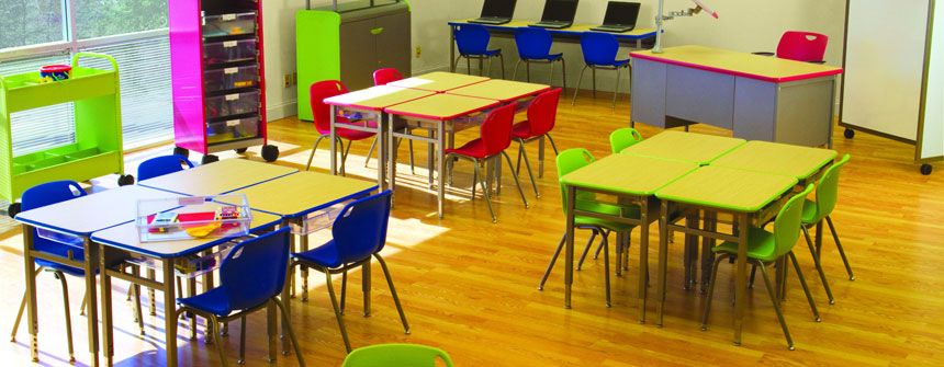 Classroom Table Design ~ I like this layout color for an early elementary classroom
