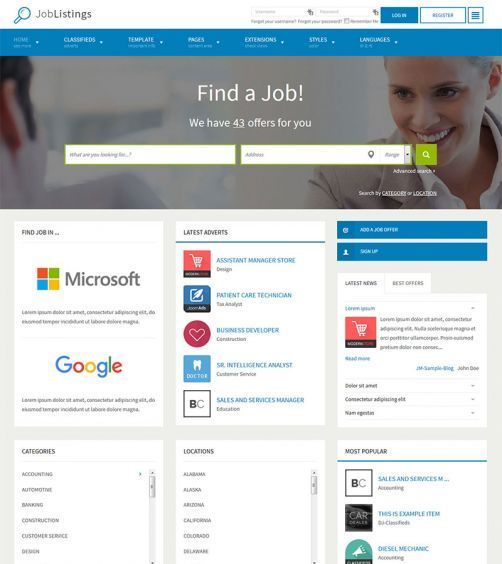Jm job listings 3 in 1 job board standard classifieds jm job listings this template provides you a complete solution to run a job listings website local classifieds or business directory wajeb Choice Image