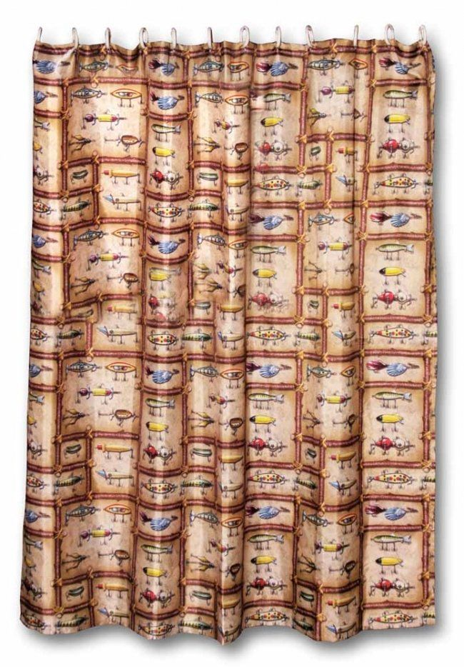 Fishing Lure Shower Curtain By Rivers Edge Measuring 70 72 Including 12 Plastic Rings