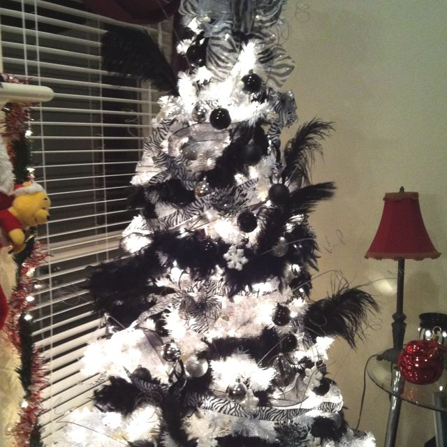 Zebra Christmas Tree Black Christmas Trees Black Christmas Glam Christmas Tree