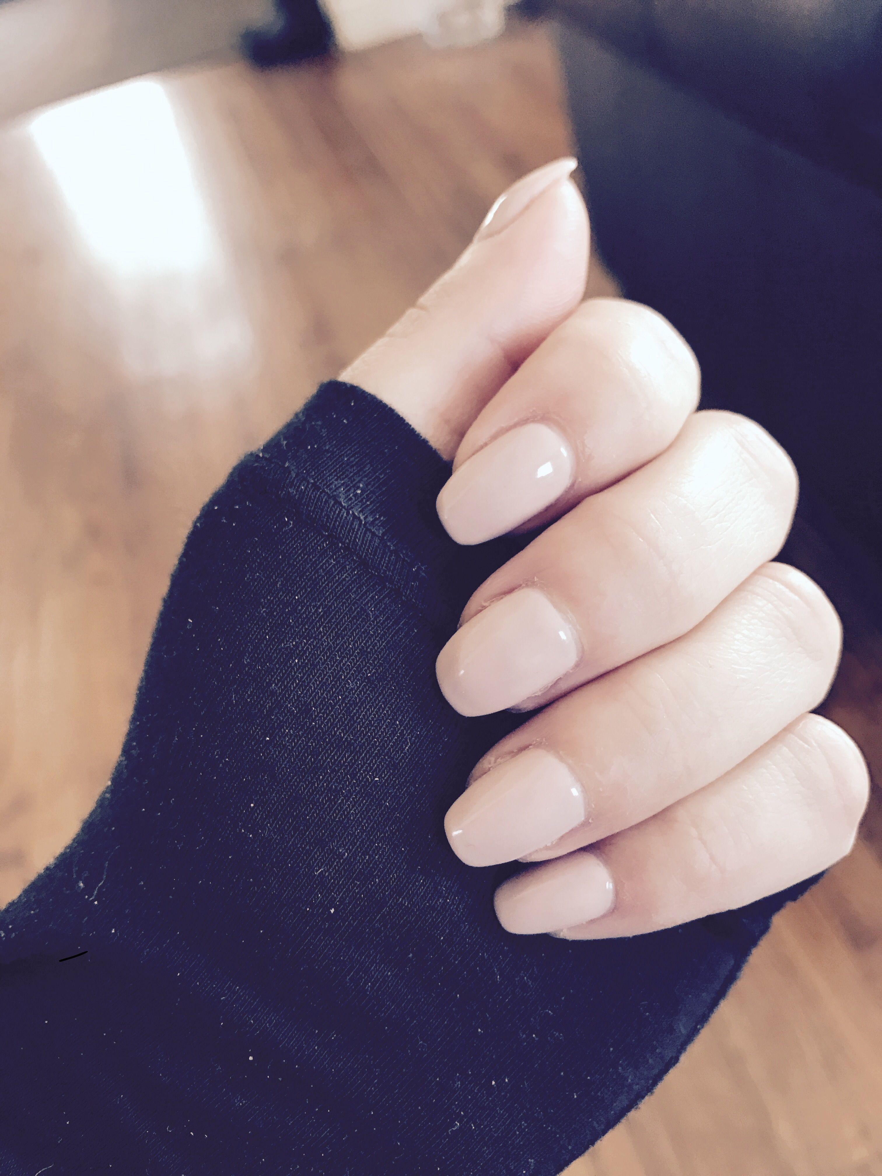 Short coffin nude nails | Lady stuff | Pinterest