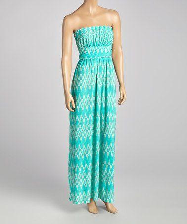 Look what I found on #zulily! Mint Zigzag Strapless Maxi Dress by Celeste #zulilyfinds